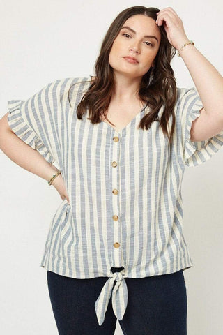 Image of My Bargain Boutique 1XL Stripe Linen Tie Front Top