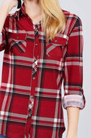 My Bargain Boutique 3/4 Roll Up Sleeve Front Pocket Detail Plaid Check Print Stretch Knit Shirts