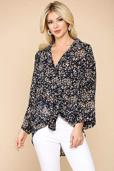 Women's Button Down Collar Shirt With Chest Pocket - My Bargain Boutique