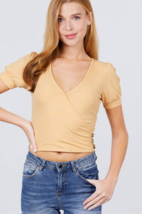My Bargain Boutique Apricot Yellow / S Puff Sleeve Rib Knit Top