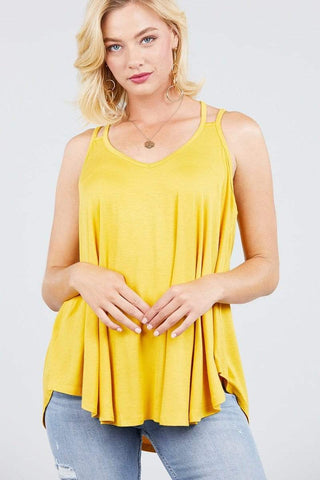 Image of My Bargain Boutique Ash Yellow / S Double Shoulder Strap Cami Top