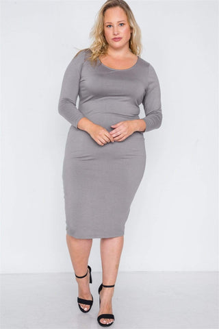 My Bargain Boutique Basic Bodycon Midi Dress