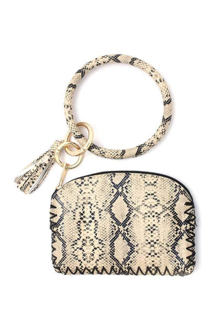 Image of My Bargain Boutique Beige Python Pattern Pouch