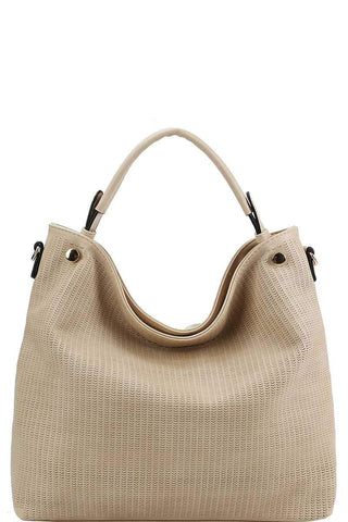 My Bargain Boutique Beige Stylish Modern Mesh Front Hobo Bag With Long Strap