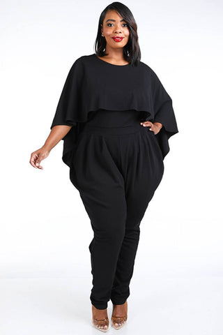 Image of My Bargain Boutique Black / 1XL Cape Style Harem Jumpsuit