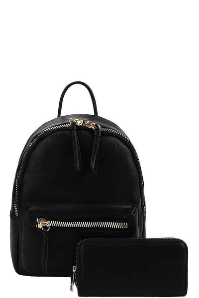 My Bargain Boutique Black 2in1 Fashion Cute Stylish Backpack With Matching Wallet