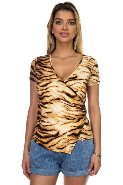 My Bargain Boutique Black/Brown / S Animal Print Front Wrap Shirt