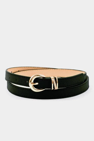 My Bargain Boutique Black Buckle Accent Stitch Belt