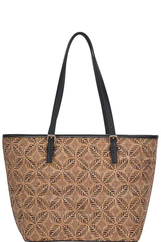 Image of My Bargain Boutique Black Chic Trendy Cork Textured Fashion Pattern Shopper Bag