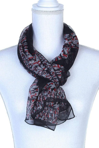 My Bargain Boutique Black Colorful Pattern Oblong Scarf