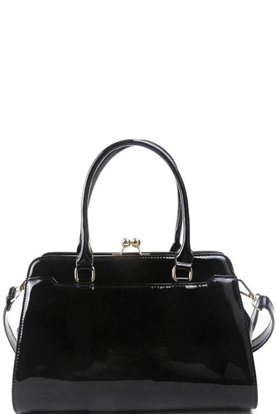 My Bargain Boutique Black Designer Fashion Glossy Satchel With Long Strap