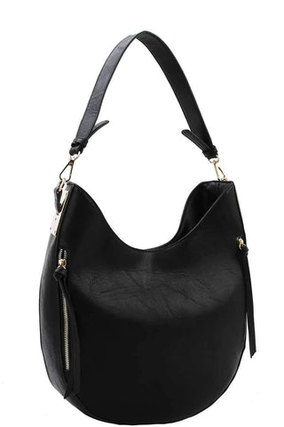 My Bargain Boutique Black Fashion Chic Trendy Hobo Bag With Long Strap