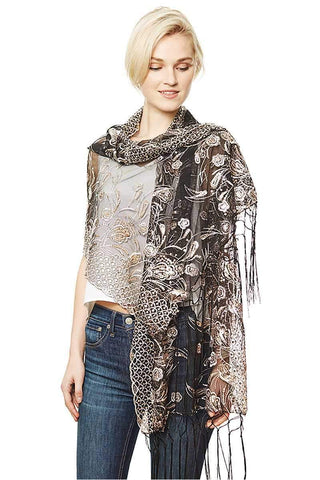 My Bargain Boutique Black Flower Embroidery Party Shawl Scarf