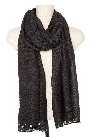 My Bargain Boutique Black Pleated Pearl and Bead Accent Oblong Scarf
