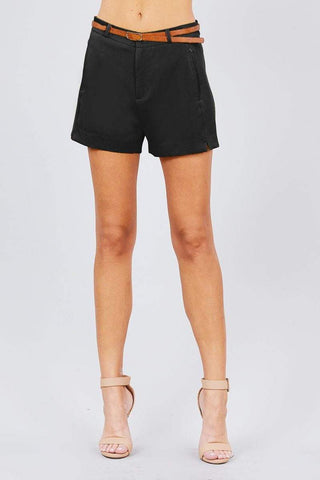 Image of My Bargain Boutique Black / S Front Slit Hem W/pocket And Belt Short Pants