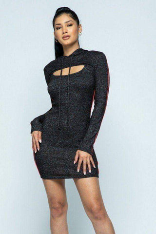 Image of My Bargain Boutique Black / S Hacci Hoodie And Tank Top Dress Set