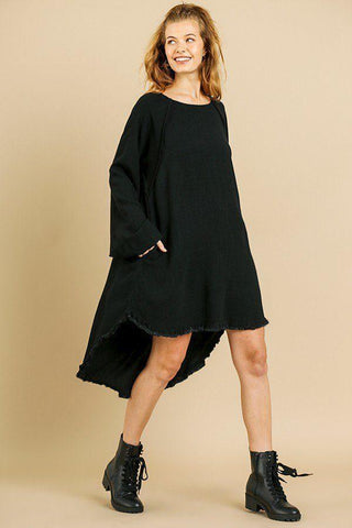 My Bargain Boutique Black / S Puff Sleeve Round Neck High Low Dress