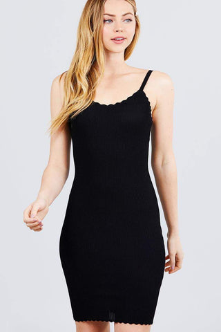 Image of My Bargain Boutique Black / S Scallop Edge Mini Dress