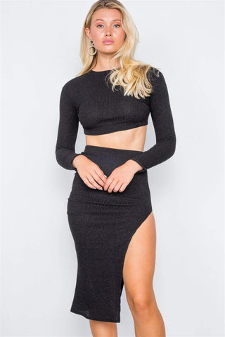 Image of My Bargain Boutique Black / S Two Piece Crop Top Skirt Set