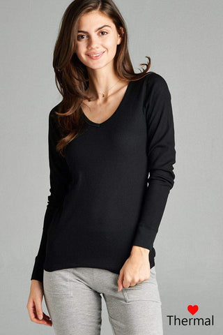 My Bargain Boutique Black / S V-neck Thermal Top