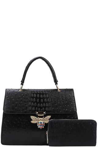 My Bargain Boutique Black Stylish Insect Buckle Satchel With Matching Wallet