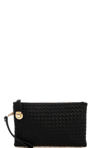 My Bargain Boutique Black Woven Clutch Crossbody Bag With Two Straps