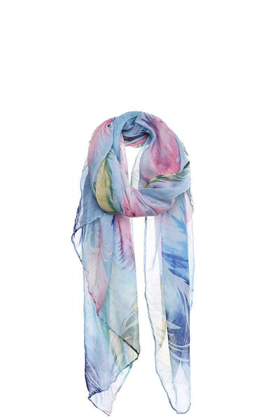 Chic Soft Multi Color Feather Print Scarf - My Bargain Boutique - Affordable Women's Clothing
