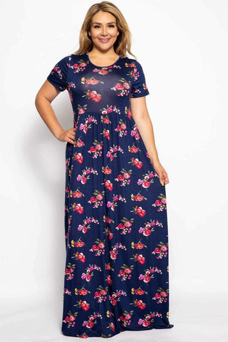 Image of My Bargain Boutique Blue Floral / 1XL Summer Sun Dress