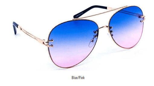 My Bargain Boutique blue/Pink Chic Stylish Aviator Color Sunglasses