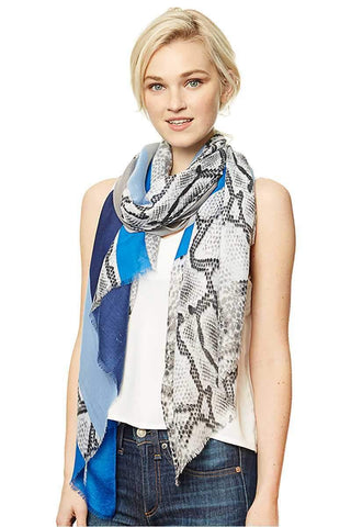 Image of My Bargain Boutique Blue Python Block Print Long Scarf