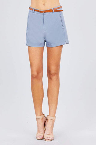 Image of My Bargain Boutique Blue / S Front Slit Hem W/pocket And Belt Short Pants
