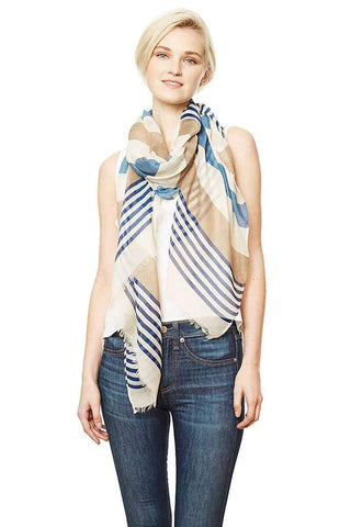 Image of My Bargain Boutique Blue Stripe Pattern Long Scarf
