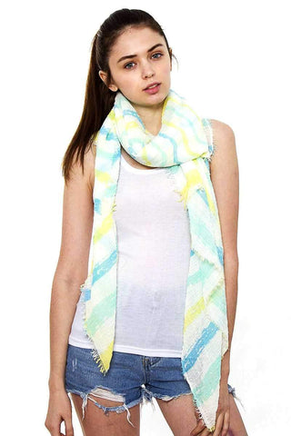My Bargain Boutique Blue Striped Oblong Scarf