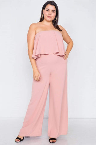 Image of My Bargain Boutique Blush / 1XL Off-the-shoulder Wide Leg Jumpsuit