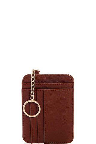 My Bargain Boutique Brown Mini Functional Card And Coin Purse With Key Ring