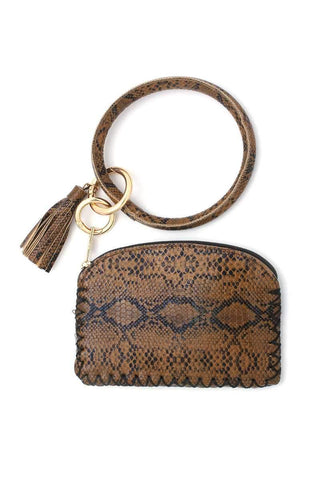 My Bargain Boutique Brown Python Pattern Pouch