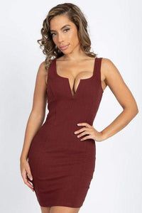 My Bargain Boutique Brown / S V-Wire Neckline Sleeveless Mini Dress