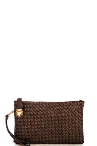 My Bargain Boutique Brown Woven Clutch Crossbody Bag With Two Straps
