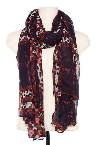 My Bargain Boutique Burgundy Animal Print Scarf