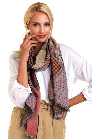 My Bargain Boutique Burgundy Mixed Pattern Mosaic Scarf