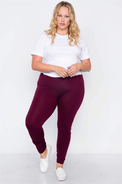 Fleece Lined Solid Leggings - My Bargain Boutique - Affordable Women's Clothing