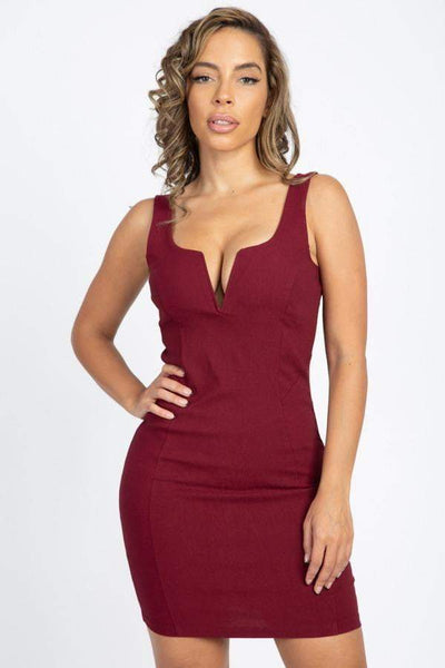 My Bargain Boutique Burgundy / S V-Wire Neckline Sleeveless Mini Dress