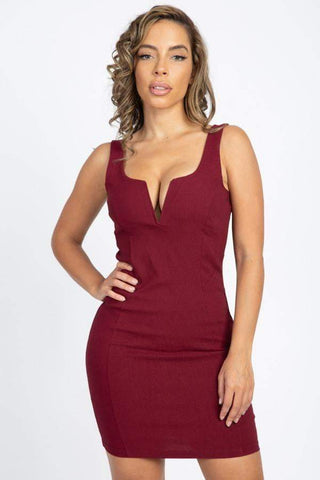 Image of My Bargain Boutique Burgundy / S V-Wire Neckline Sleeveless Mini Dress