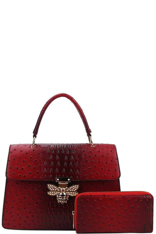 My Bargain Boutique Burgundy Stylish Insect Buckle Satchel With Matching Wallet