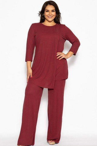 My Bargain Boutique Burgundy / XL Pleated 2 Piece Set