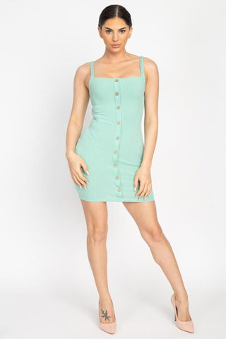 Women's Button Down Ribbed Mini Dress - My Bargain Boutique