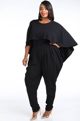 My Bargain Boutique Cape Style Harem Jumpsuit