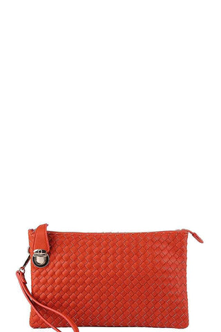 My Bargain Boutique Carrot Woven Clutch Crossbody Bag With Two Straps