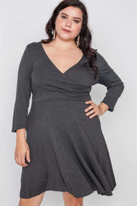 My Bargain Boutique Charcoal / 1XL Ribbed V-Neck Dress