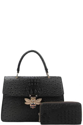 My Bargain Boutique Charcoal Stylish Insect Buckle Satchel With Matching Wallet